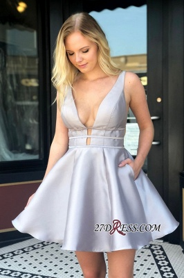 Backless Sexy Short V-neck A-line Homecoming Dresses_2