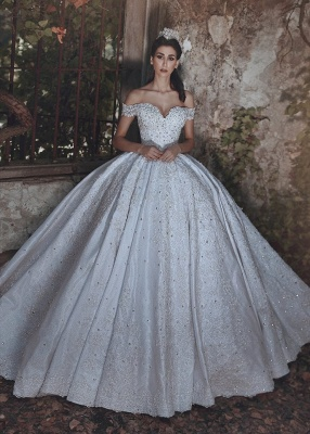 Glamorous Off-the-Shoulder Lace 2020 Wedding Dress Ball Gown Beads Wedding Reception_1