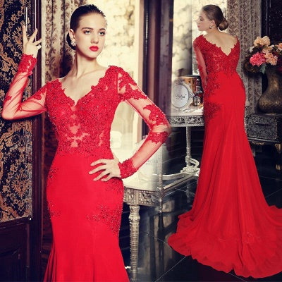 sexy red long sleeve mermaid prom dress with lace appliques sweep train_3