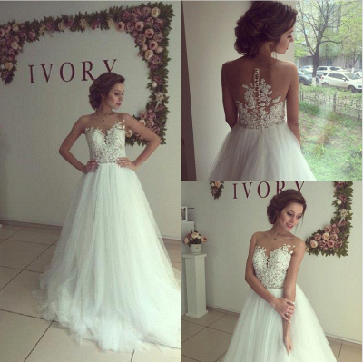 Elegant Sleeveless Lace Appliques 2020 Wedding Dress Tulle Zipper Back_4