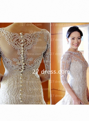 Train Wedding Dresses Bridal Gowns 2020 Beads Sequins Appliques Bateau Long Sleeves Button Back Court A-line_5