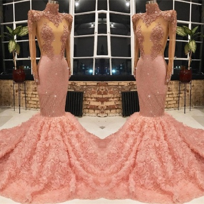 Glamorous Pink Long Sleeve 2020 Prom Dresses | Mermaid Sequins Flowers Evening Gowns_2