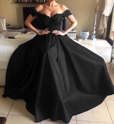 Elegant Off-the-Shoulder Prom Gowns   2020 Long Lace Evening Dress_2