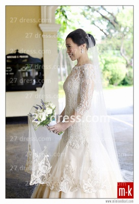 Train Wedding Dresses Bridal Gowns 2020 Beads Sequins Appliques Bateau Long Sleeves Button Back Court A-line_2