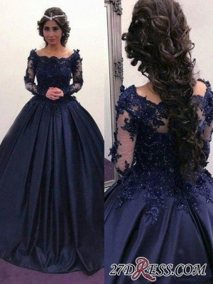 Navy Long Slaeeves Prom Dress | 2020 Ball-Gown Evening Gowns On Sale_2