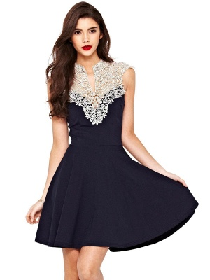 Beautiful Lace Cap Sleeve 2020 Short Prom Dress A-Line Homecoming Dress_1