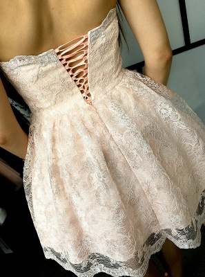 Hot Sale Lace Homecoming Dress Sweetheart Lace-up 2020 Short Prom Dress_3