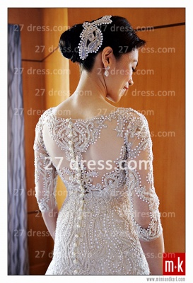 Train Wedding Dresses Bridal Gowns 2020 Beads Sequins Appliques Bateau Long Sleeves Button Back Court A-line_4