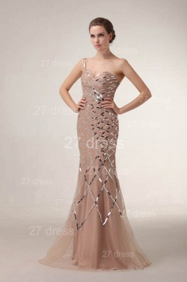 One Shoulder Mermaid Prom Gowns 2020 Sequined Sweep Train Evening Dresses_5