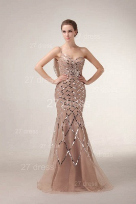 One Shoulder Mermaid Prom Gowns 2020 Sequined Sweep Train Evening Dresses_1