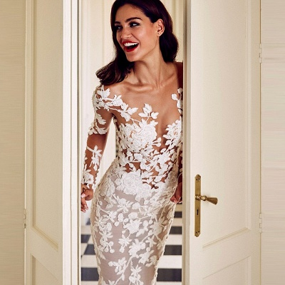 Charming Crew Long Sleeve Wedding Dresses | Mermaid Lace Appliques Bridal Gowns On Sale_3
