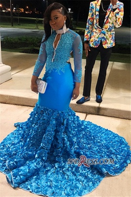 Glamorous Sheer Tulle Flower Applique Prom Dress | Blue Lone-Sleeves Backless Mermaid Prom Gown_3