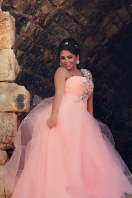 Chic Tulle Crystals Princess Pink Wedding Dress 2020 One Shoulder_1