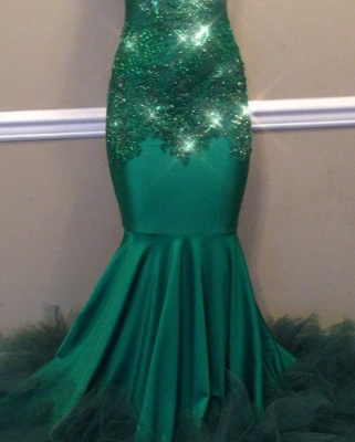 Elegant Green High-Neck Keyhole Prom Dress | 2020 Mermaid Lace Appliques Evening Gowns BC1811_2