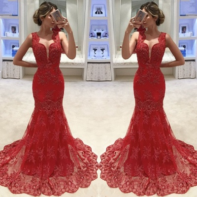Gorgeous Sleeveless 2020 Evening Dress | Mermaid Lace Appliques Prom Dress_2