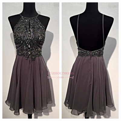 Backless Mini Sparkly Sequins Spaghetti-Straps Beaded Chiffon Homecoming Dresses BA3771_1