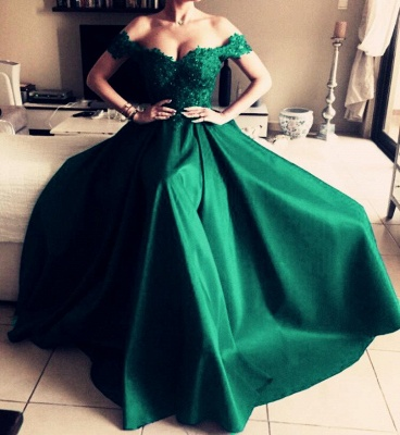 Elegant Off-the-Shoulder Prom Gowns   2020 Long Lace Evening Dress_3