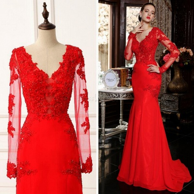 sexy red long sleeve mermaid prom dress with lace appliques sweep train_4