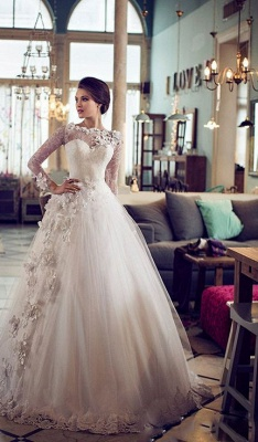 Elegant Bateau Long Sleeve Tulle Wedding Dress With Flowers Lace_1