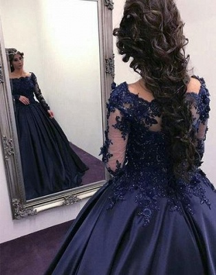 Navy Long Slaeeves Prom Dress | 2020 Ball-Gown Evening Gowns On Sale_4