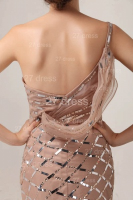 One Shoulder Mermaid Prom Gowns 2020 Sequined Sweep Train Evening Dresses_6