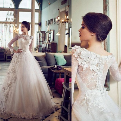 Elegant Bateau Long Sleeve Tulle Wedding Dress With Flowers Lace_2