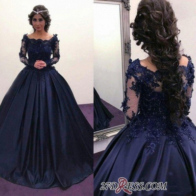 Navy Long Slaeeves Prom Dress | 2020 Ball-Gown Evening Gowns On Sale_3