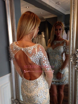 Open-Back Gorgeous Long-Sleeve Crystal Short Homecoming Dress BA1125_1