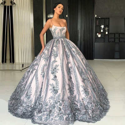 Gorgeous Spaghetti Strap Sleeveless Prom Dress   Ball Gown Lace Appliques Evening Gowns_2