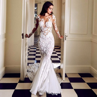 Charming Crew Long Sleeve Wedding Dresses | Mermaid Lace Appliques Bridal Gowns On Sale_2