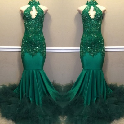 Elegant Green High-Neck Keyhole Prom Dress | 2020 Mermaid Lace Appliques Evening Gowns BC1811_3