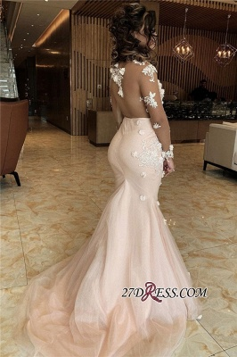 Long-sleeve Sexy Scoop Applique Mermaid Prom Dress_2