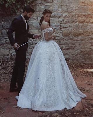 Glamorous Off-the-Shoulder Lace 2020 Wedding Dress Ball Gown Beads Wedding Reception_4