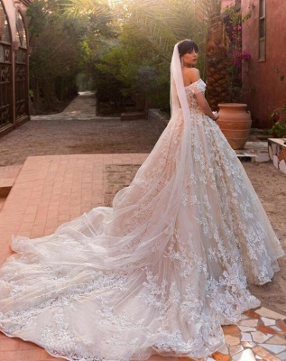 Glamorous Off-the-Shoulder Wedding Dresses   2020 Appliques Flowers Bridal Gown_3