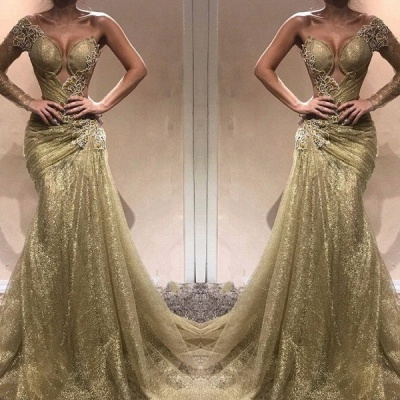 2020 Decent One Shoulder Long Sleeves Prom Dresses | Mermaid Long Evening Gown On Sale BC0750_2
