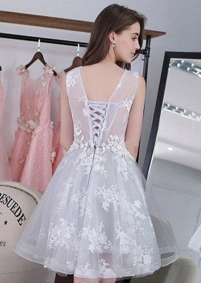 Newest Illusion Lace Appliques A-line Short Homecoming Dress | 2020 Homecoming Gown_3