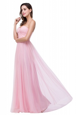 Elegant Sweetheart Pink Bridesmaid Dress 2020 Ruched Long Prom Gown_2