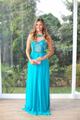 Womens Long Evening Prom Dresses Hot Sale Lindo Vestidos De Fiesta Party Gowns Blue Scoop Pearls Chiffon Lace_7