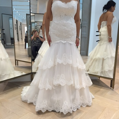 Chic Tulle Lace Mermaid Tiered Wedding Dress Zipper_1