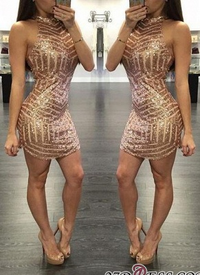 Sequins Halter-Neck Tight Sheath Short Homecoming Dresses_2