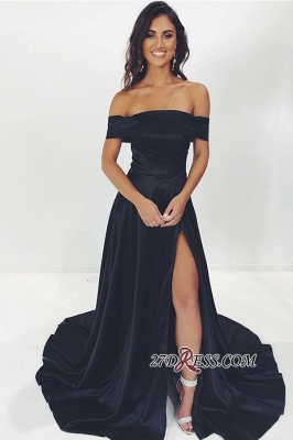 Navy-Blue Off-the-shoulder Side-Split Wonderful Sheath Evening Dresses_1