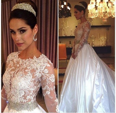 New Arrival Lace Appliques Long Sleeve Satin Wedding Dress Beadings Princess 2020_2
