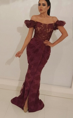 Romantic Burgundy Off-The-Shoulder Mermaid Long Prom Dress | Lace Appliques Bubble-Sleeves Evening Gown With Split_1