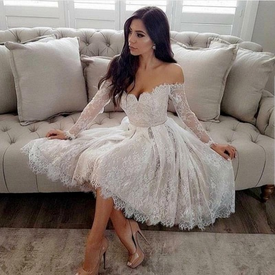 Long Sleeve Off-the-Shoulder Homecoming Dress   2020 Lace Short Prom Dresses_2