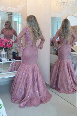 Fuchsia Lace 2020 Prom Dress   Long Pearls Evening Gowns_2