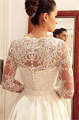Elegant Scoop Long Sleeve Wedding Dress With Lace Appliques BA9260_2