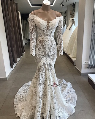 Appliques Off-the-shoulder Lace Long-Sleeves White Mermaid Elegant Wedding Dresses_2