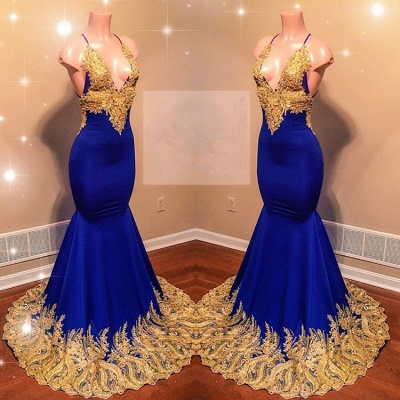 Glamorous V-Neck Royal Blue Prom Dress | 2020 Mermaid Evening Gowns With Gold Appliques BC0622_2