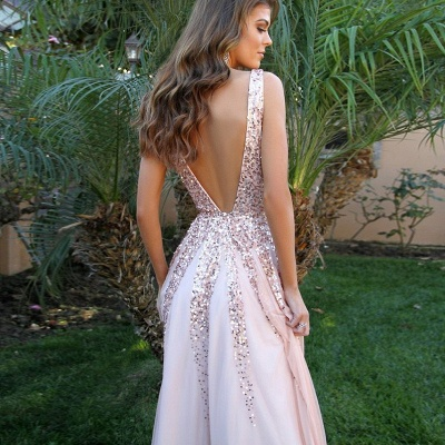 Elegant V-Neck Sleeveless 2020 Prom Dress | Pink A-Line Backless Sequins Evening Gowns_3