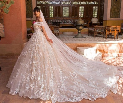 Glamorous Off-the-Shoulder Wedding Dresses   2020 Appliques Flowers Bridal Gown_2